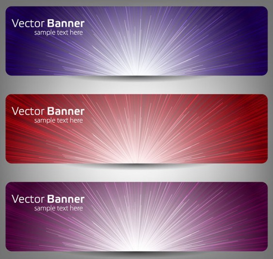 Radial Lines Banner Set Vector