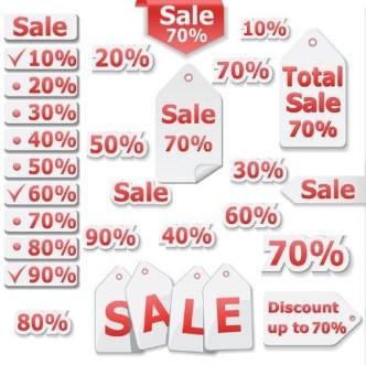Red Sale Discount Label Set Vector