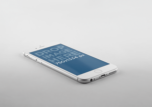White iPhone 6 Side View Mockup PSD