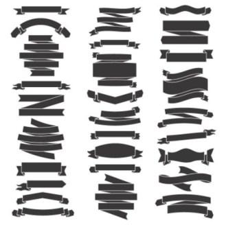 Dark Ribbon Set Vector