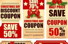 Christmas Day Discount Coupon Label Set Vector