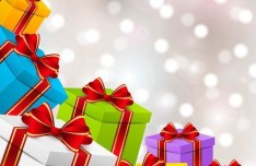 Colorful Gift Boxes with Red Ribbon Bows Vector