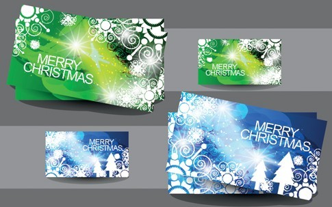 Elegant Merry Christmas Card Set 02