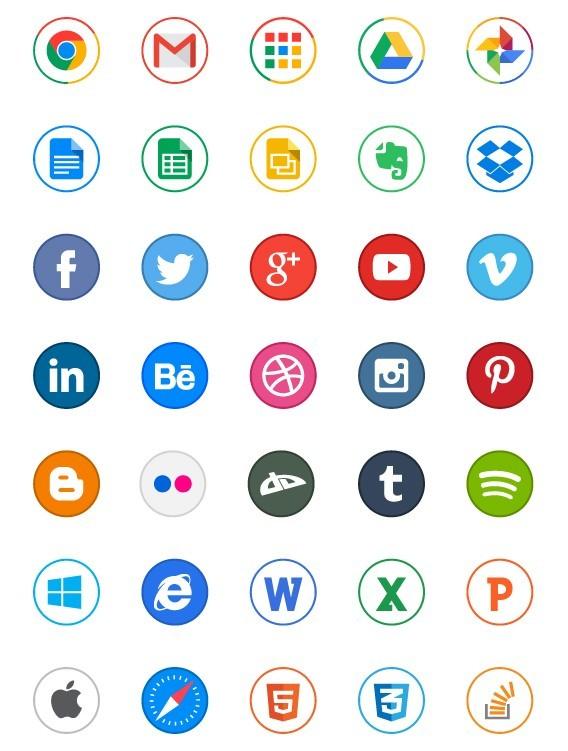 65 Circle Application Icons