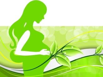 Green Pregnant Woman Silhouette Vector