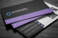 Black & Violet Creative Business Card Template PSD