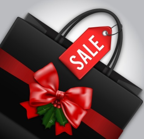 Christmas Sale Shopping Bag Template Vector