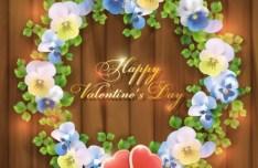 Happy Valentine's Day Wreath Vector
