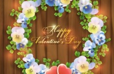 Happy Valentine's Day Wreath Vector