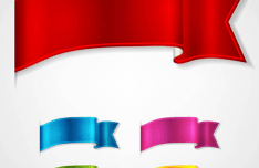 Glossy Ribbon Vector Set 02