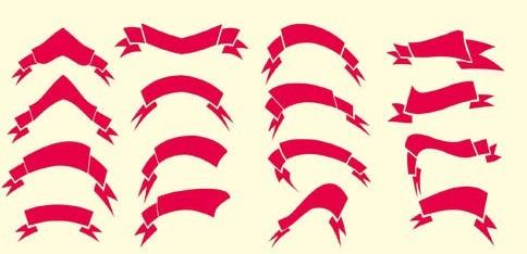 Glossy Ribbon Vector Set 04