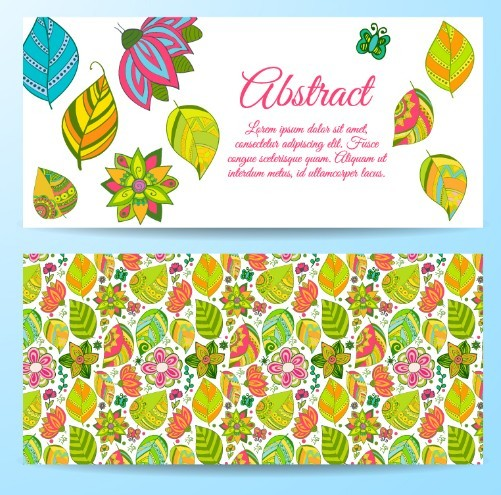 Cartoon Leaves Cards Vector