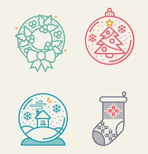 4 Simple Vector Christmas Icons