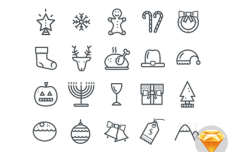 20 Simple Christmas Icons Sketch