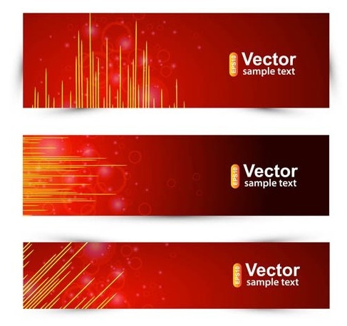 Abstract Red Lights Banner Set Vector