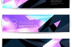 Abstract Tech Polygon Banner Set Vector