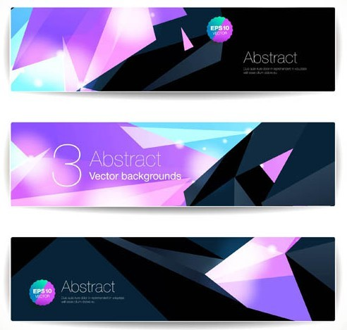 Abstract Tech Polygon Banner Set Vector