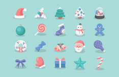 20 Pretty Christmas Icons Vector