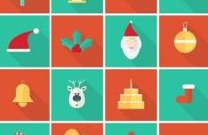 16 Flat Long Shadow Christmas Icons Vector
