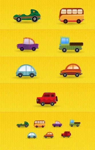 Cartoon Mini Transportation Icons Vector