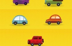 Cartoon Mini Transportation Icons Vector