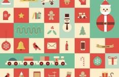 Flat Style Christmas Elements Vector