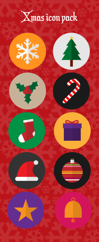 10 Xmas Flat Round Icons PNG