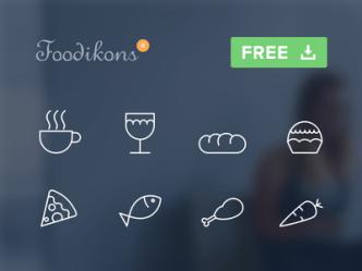 8 Food Line Icons PSD