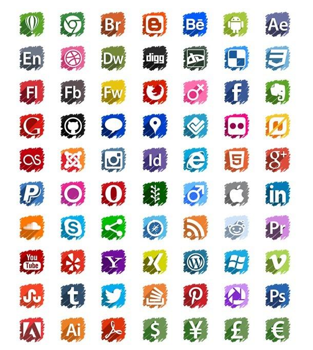 70 Vector Social Media Icons