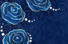 Blue Roses Background Vector
