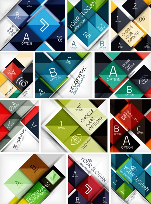 12 Abstract Business Backgrounds Vector