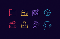 30 Colorful Line Icons Sketch