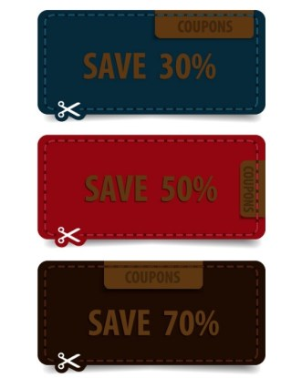 3 Colorful Coupon Labels Vector