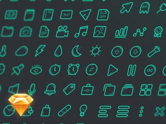 Green Line Icons Set Sketch