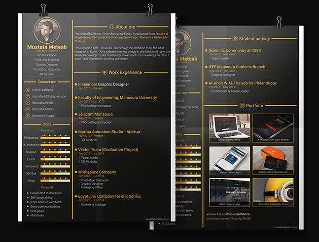 free gold resume cv template psd titanui