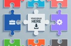 Colorful Puzzle Icon Set Vector