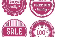 4 Red Circular Quality Badges Vector