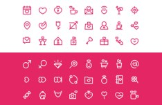 Valentine's Day Outline Icon Set Vector