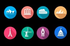 Flat Travel Icons Vector