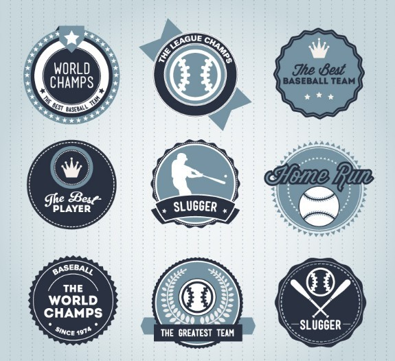 Blue Baseball Badge Set Vector