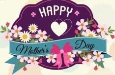 Vintage Happy Mother's Day Flower Badge Vector