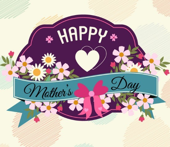Vintage Happy Mother's Day Flower Badge Vector