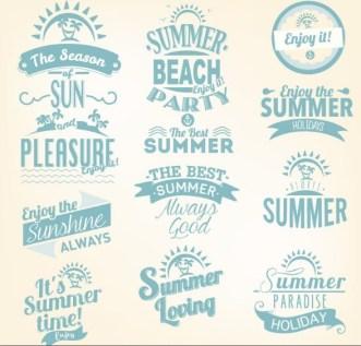 Blue Summer Holiday Beach Party Badge Set Vector