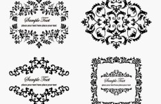 4 Vintage Floral Ornaments Vector