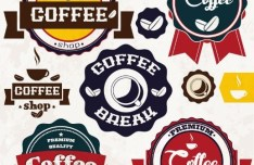 Retro Coffee Badge Set Vector