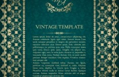 Vintage Green Pattern Background with Gold Floral Frame Vector