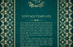 Vintage Green Pattern Background with Gold Floral Frame Vector