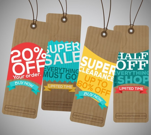 Corrugated Paper Retail Discount Labels Vector