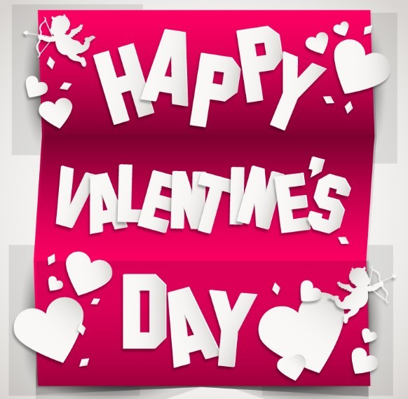 3D Tri-Fold Happy Valentine's Day Card Vector