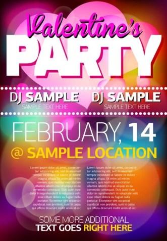 Valentine's Party Flyer Vector